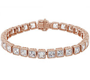 Judith Ripka 8 Sterling & 14k Rose Gold Diamonique Tennis bracelet - J318499