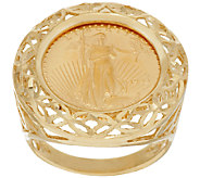 14K/22K Gold Liberty Coin Diamond Cut Border Ring - J318999