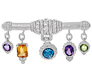 Judith Ripka Sterling 7.00 cttw Multi-Gemstone Bar Pin - J320899