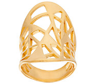 Bronze Concave Oval Geometric Cut-Out Ring by Bronzo Italia - J321499