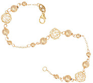 EternaGold 7-1/2 Open Work Bead Bracelet 14K Gold, 2.3g - J322999