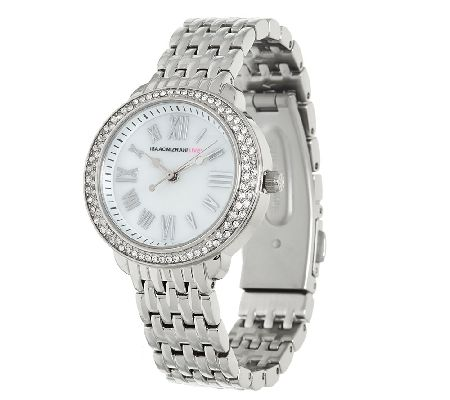 Isaac Mizrahi Live! Round Pave Stainless Steel Bracelet Watch