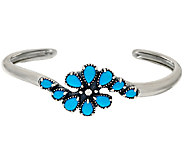 Sleeping Beauty Turquoise Sterling Silver Cluster Cuff by American West - J323799