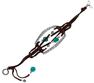 Jennifer Nettles Leather & Sterling Turquoise Bead Bracelet - J324099