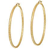 14K Gold 2-1/2 Diamond Cut Tube Hoop Earrings - J324799