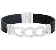 Judith Ripka Sterling Verona Curb Link & Black Leather Bracelet - J324999