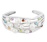 As Is Honora Cultured Pearl 2.20 cttw Multi-Gemstone Average Cuff - J328199