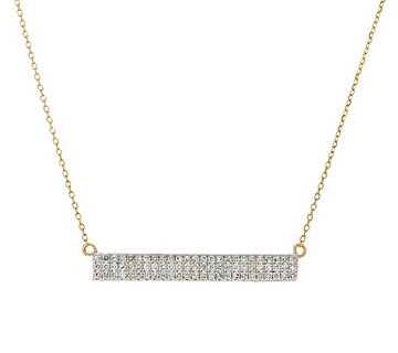 Pave' Diamond Bar Necklace, 14K Gold, 1/5 cttw, by Affinity - J328799