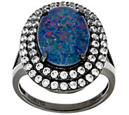 As IsGraziela Gems Australian Opal Triplet & White Zircon Sterling Ring - J329099