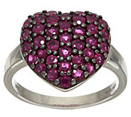 As Is Thai Ruby Pave Heart Shaped Sterling Silver Ring, 1.70cttw - J331099