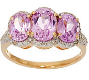Oval Kunzite & Pave Diamond 3-Stone Ring, 14K Gold 2.85 cttw - J335399