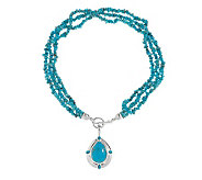 American West Kingman Turquoise Enhancer w/ 18Bead Necklace - J336499