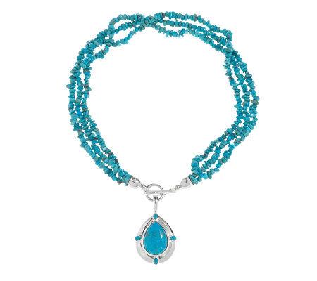 american west kingman turquoise enhancer w 18 quot bead necklace qvc