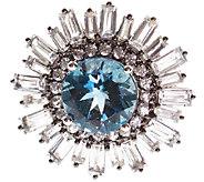 Graziela Gems Round London Blue & White Topaz Ring, Sterling - J337099