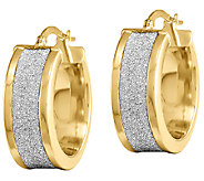 Fancy Glitter-Infused Hoop Earrings, 14K Gold - J339599