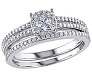 Round Cluster Diamond Ring Set, 14K White Gold,by Affinity - J340899