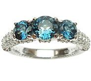 Judith Ripka Sterling, London Blue Topaz & Diamonique Ring - J340999
