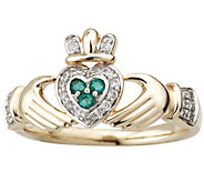 Solvar Diamond and Emerald Claddagh Ring, 14K Gold - J341899