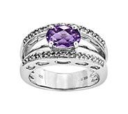 Sterling 0.95 ct Amethyst & 1/7 cttw Diamond Open Work Ring - J342399