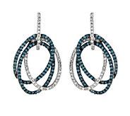 Sterling 1/2 cttw Blue & White Diamond Oval Earrings - J342599