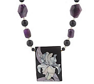 Lee Sands Amethyst Floral Inlay 20 Necklace - J342899