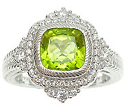 Judith Ripka Sterling Diamonique and Cushion Cut Peridot Ring - J343799
