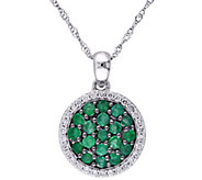 0.75 cttw Emerald & 1/7 cttw Diamond Pendant w/Chain, 14K - J344099