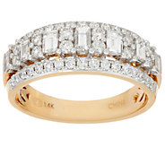 As Is Baguette and Round Diamond Band Ring, 14K 1.00 cttw - J346999