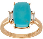 Elongated Cushion Cut Sleeping Beauty Turquoise Ring 14K Gold - J347299