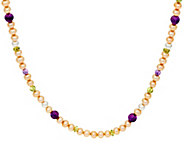 Carolyn Pollack Sterling Silver Cultured Pearl & Gemstone Bead Necklace - J347899