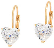 Diamonique 2.00 cttw Heart Leverback Earrings, 14K Gold - J348599