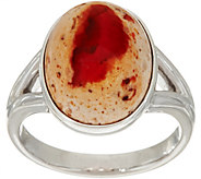 Fire Opal Cabochon Sterling Silver Ring - J350099