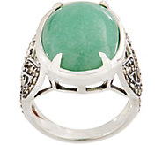 Solvar Sterling Silver Green Aventurine with Marcasite Ring - J352599
