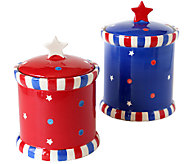 Temp-tations Set of 2 Red, White, and Blue Canisters - K304300