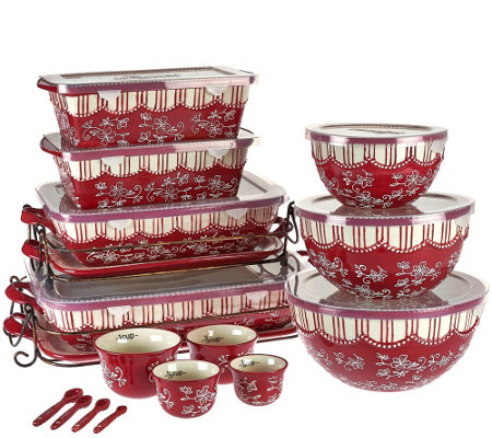 """As Is"" Temp-tations Floral Lace 20 piece Bakeware Set ..."