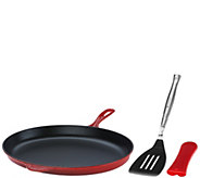 Le Creuset 15.75Cast Iron Oval Skillet with Turner & Handle Sleeve - K42601