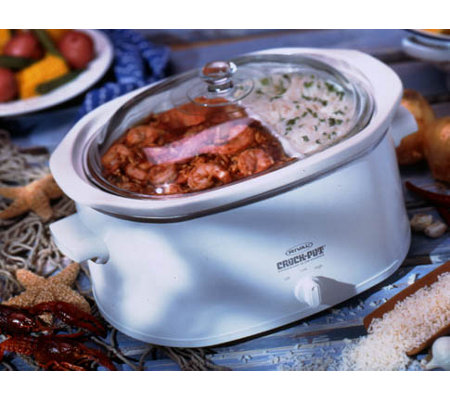 Rival 5.5 Qt. Divided Oval Crock Pot - White