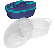 CorningWare French White 2.5qt Oval Bakeware with Travel Bag - K305902