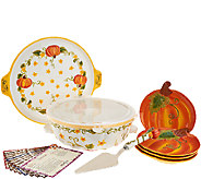 Temp-tations Figural Pumpkin Patch Bake & Serve Set with Recipes - K42202