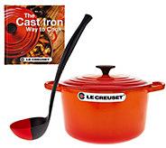 Le Creuset 5.25qt Deep Dutch Oven w/ Cookbook & Ladle - K43202