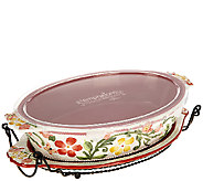 Temp-tations ButterflyGarden 3qt Oval Baker with Lid It - K41403