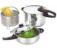 Fagor Duo Combi Set, 4 & 8 qt Pots, 2 Lids & Steamer Basket - K133404