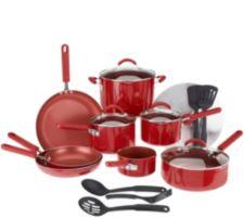 CooksEssentials 18-piece PorcelainEnamel Cookware Set w/DupontNonstic