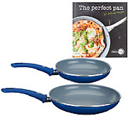 GreenPan CeramicCookware 8 and 10 Skillet Set with Cookbook - K41604