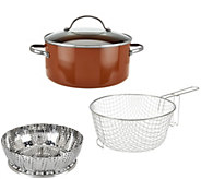 CooksEssentials 5qt Aluminum Covered Fry Pan with Fry Basket and Steamer - K44804