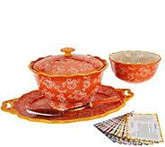 As Is Temp-tations Floral Lace 6pc Serving Platter & Bowl Set - K307606