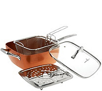 "Copper Chef 9.5"" Square Pan with Lid,Fry Basket, Steam Rack & Recipes - K44607"