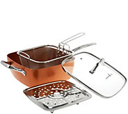 Copper Chef 9.5 Square Pan with Lid,Fry Basket, Steam Rack & Recipes - K44607