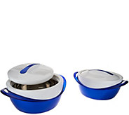 Set of 2 Thermal Hot/Cold Serving Bowls w/Lids - K43208