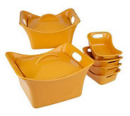 As Is Rachael Ray Bubble & Brown 8-piece Stoneware Baker Set - K158209